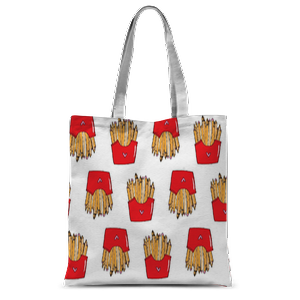 Time Fries Pattern Tote Bag – 15″x16.5″