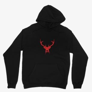 Red Deer Head Heavy Blend Hooded Sweatshirt – XS, Black