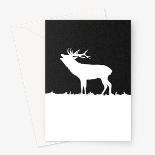 Roaring Deer Silhouette Greeting Card