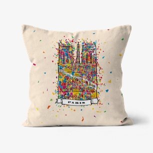 Paris Artprint Cushion – Linen, 12″x12″