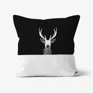 Sketched Deer Head Cushion – Linen, 12″x12″