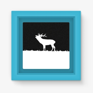 Roaring Deer Silhouette Magnet Frame – Light Blue